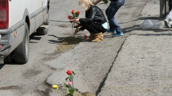 Young people plant flowers in potholes to grab authority attention