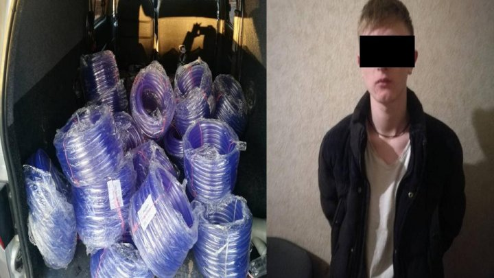 Young man detained for stealing silicone hose reels and rubber rim