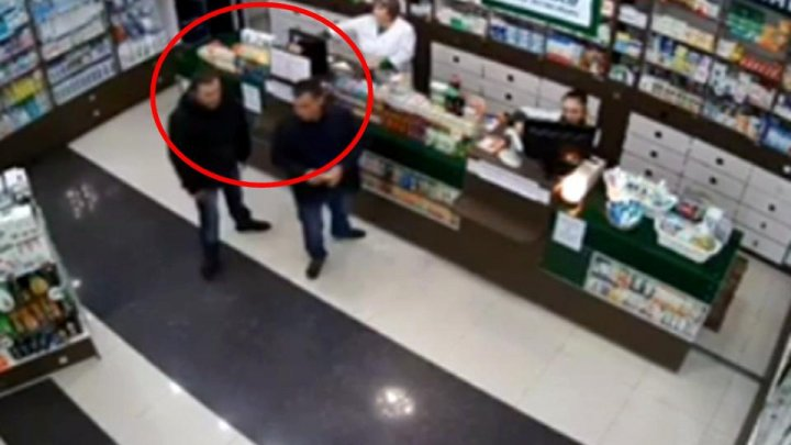 Theft caught on CCTV of a pharmacy from Chisinau