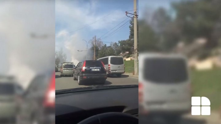 Car burst into flames on a street from Capital