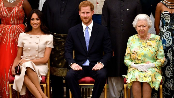 Prince Harry and Meghan Markle greeted the winners of a special youth leadership award from Queen Elizabeth