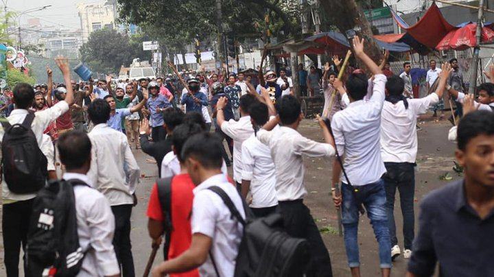 Protesters in Dhaka demanding safer streets face police firing tear gas
