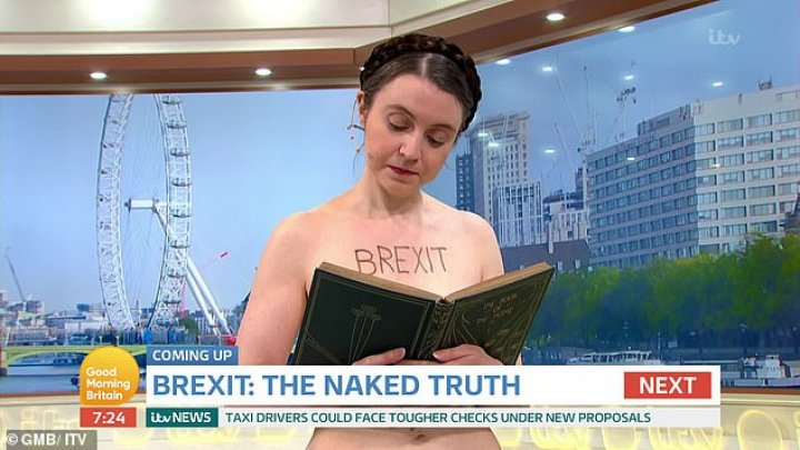 Cambridge academic anti-Brexit economist stuns NAKED on Good Morning Britain. What's her message using this 'visual power'