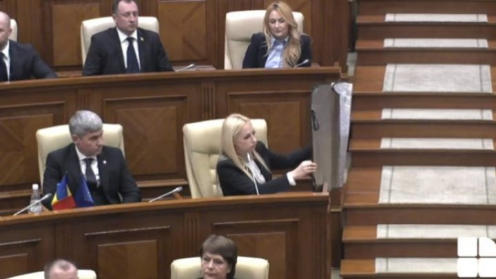 Marina Tauber brought anti-mercury fence to protect herself from Andrei Nastase within first session of Parliament