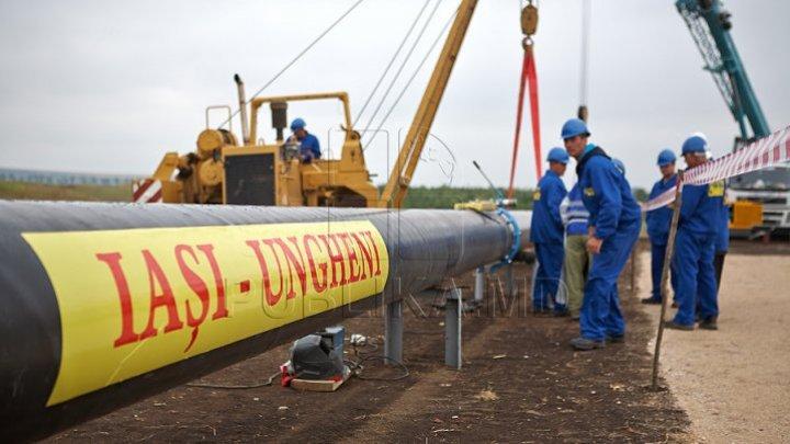 When is Ungheni - Chisinau gas pipeline construction set off?