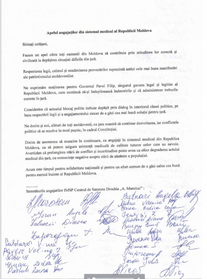 Drochia doctors support the only legitimate Government, the Filip one (DOCUMENT)