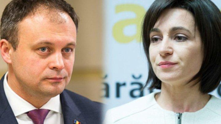 At Gagauz Bashkan inauguration Andrian Candu spoke Romanian but Maia Sandu preferred only Russian