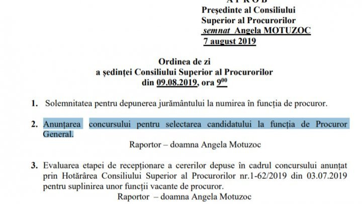 Tomorrow starts the contest for Prosecutor General function. Maia Sandu:  We can't let the current CSP to elect the new Prosecutor
