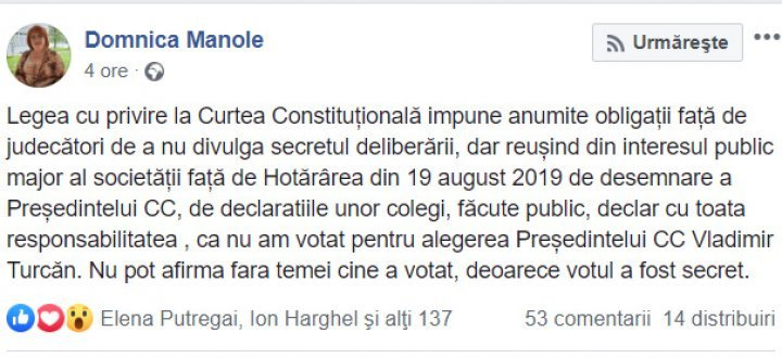 Domnica Manole violated deliberation secrecy and let on how she voted in CC President election