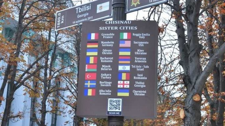 Information panel of Chisinau sister cities installed in Capital city (photo)