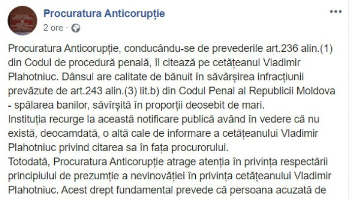 Justice on social network: Prosecutors summon Vlad Plahotniuc on Facebook