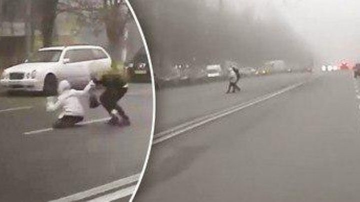 Alarming moment woman holding child nearly got crashed while crossing irregularly