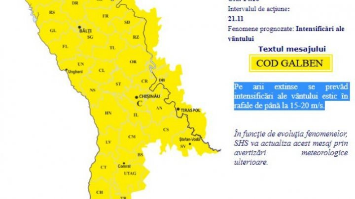 Much cooler temps sweep through Moldova with yellow warning for gust