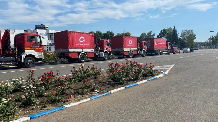 A convoy of trucks with humanitarian aid from Poland arrives in Moldova