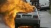 Explozie la un atelier auto din Capitală: O maşină a ars în întregime