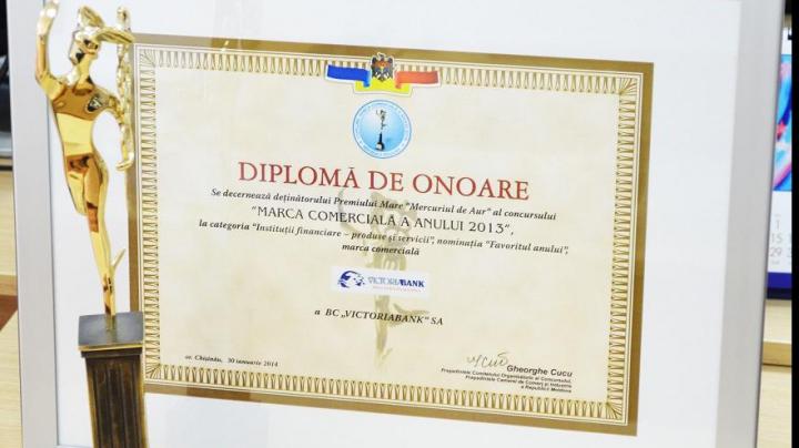"""Victoriabank – """"Favoritul anului"""" din Moldova la categoria instituţii financiare"""