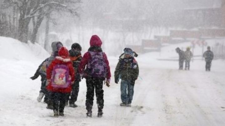 Viscolul închide şcolile. Peste 600 de elevi din toată ţara nu au ajuns la ore din cauza vremii