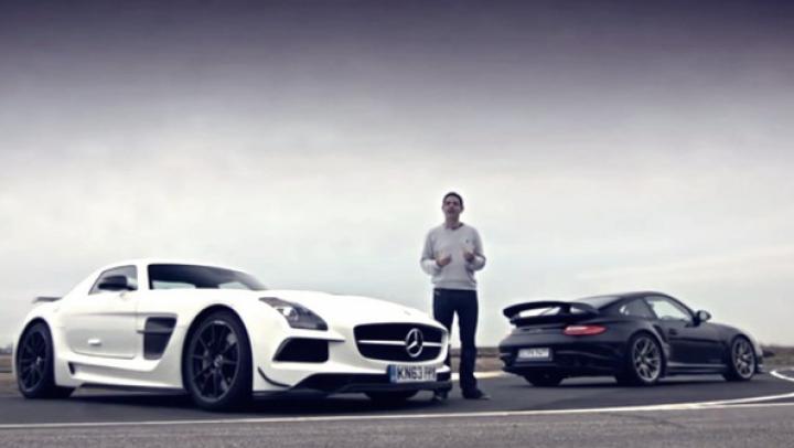 Bătălia greilor: Porsche 911 GT2 RS vs. Mercedes-Benz SLS AMG Black (VIDEO)