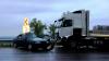 Accident teribil pe traseul Chişinău – Orhei. Un Opel Vectra a fost şifonat, la tamponarea cu un camion (VIDEO)