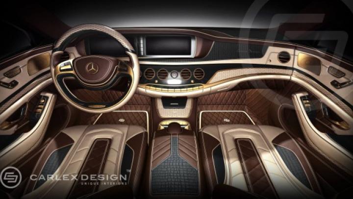 Lux desăvârşit în interiorul noului Mercedes S-Class! Carlex îl împrospătează cu aur şi piele de crocodil (FOTO)