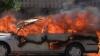 Poliţist erou. A salvat viaţa unui şofer, maşina căruia a luat foc