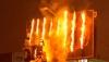 Panou de publicitate din capitală, în flăcări. La faţa locului s-au deplasat patru autospeciale ale pompierilor