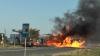 Incendiu la Cimişlia! Un camion încărcat cu alcool etilic S-A RĂSTURNAT lângă o benzinărie (VIDEO)