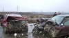 Accident cu implicarea a trei mașini pe traseul Chișinău - Ungheni. O persoană a fost rănită