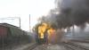 Trenul Chişinău-Ungheni în flăcări. La faţa locului s-au deplasat mai mulţi pompieri