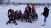 Zăpadă multă, bucurie mare! Iureş de sănii în localităţile din nordul ţării