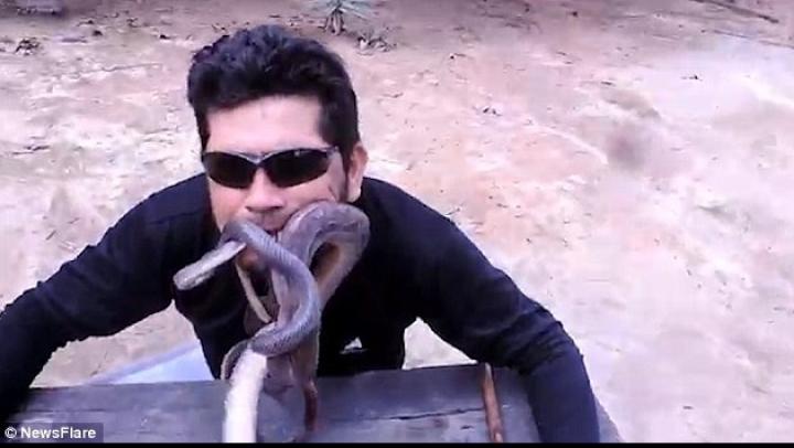 NO COMMENT: A băgat patru şerpi vii în gură. MOTIVUL pentru care a făcut asta (VIDEO)
