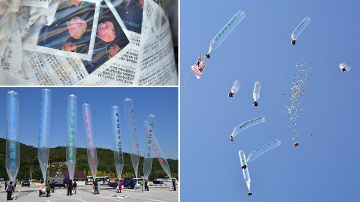 Ce se întâmplă? Pe cerul Coreei de Sud zboară baloane care explodează şi aruncă gunoi