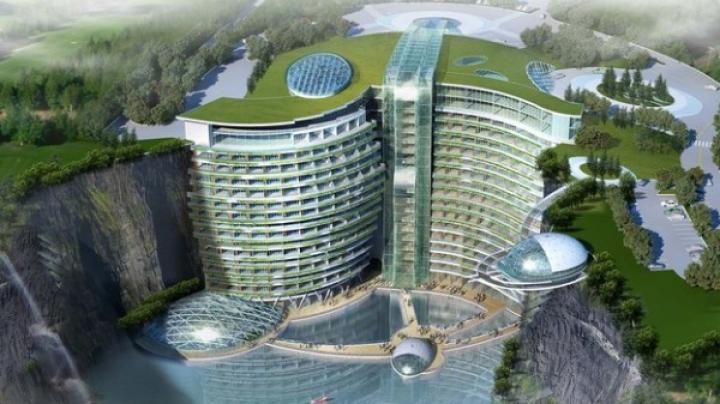 Spectaculos! Chinezii vor construi un hotel de cinci stele într-o carieră abandonată (VIDEO)