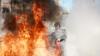 INCENDIU DE PROPORŢII la Căuşeni. Un TIR încărcat cu anvelope A FOST CUPRINS DE FLĂCĂRI (FOTO)
