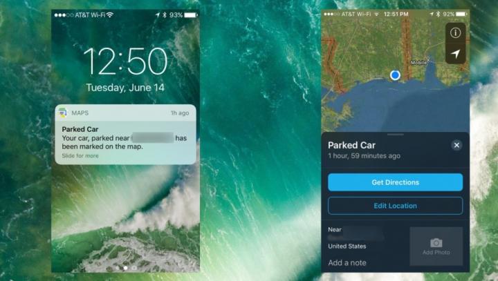 iOS 10 te anunță unde ai parcat mașina printr-un update la Maps