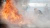 PANICĂ! O conductă de gaze a luat foc în timpul unor lucrări de construcţii