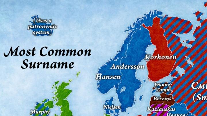 Care sunt cele mai populare nume de familie în ţările europene (HARTĂ)