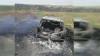 Un bărbat din Făleşti şi-a găsit maşina mistuită de flăcări la marginea unui sat (VIDEO)