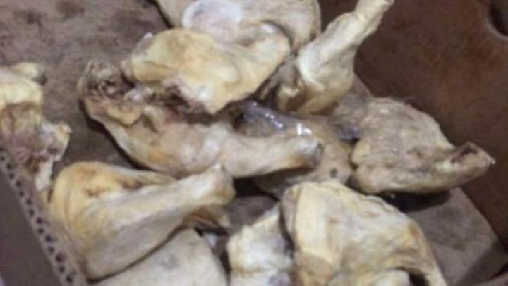 """IMAGINI DE GROAZĂ. Produse care miroseau """"a mortăciune"""", găsite în depozitul unui agent economic reţinut de CNA"""