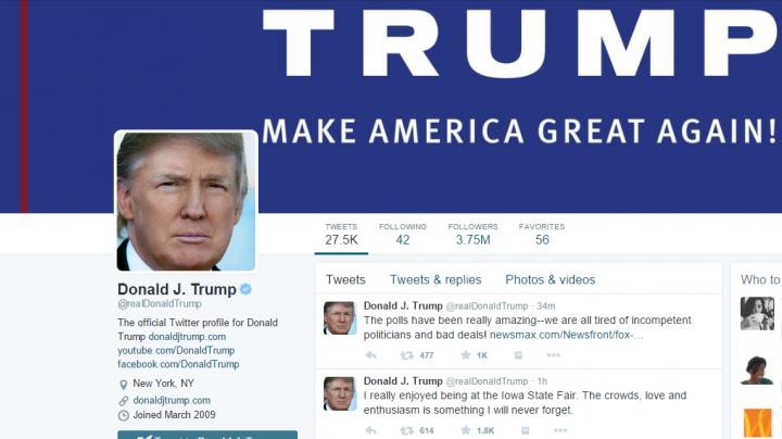 Alegeri SUA: Donald Trump şi-a actualizat Twitter-ul pentru a-și anunţa victoria
