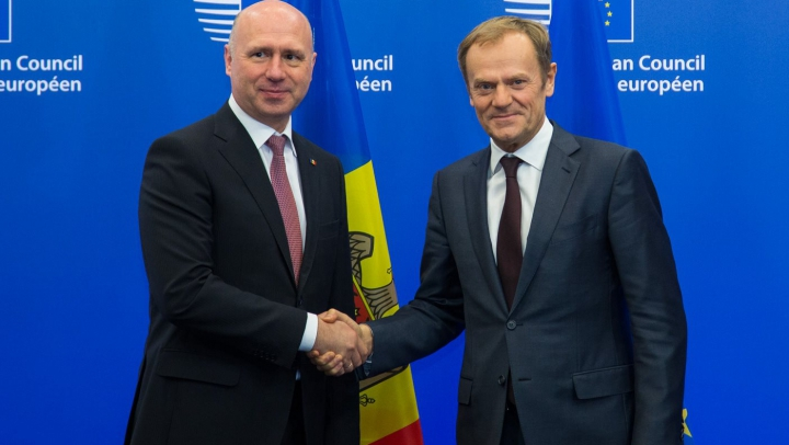 Premierul Pavel Filip s-a întâlnit cu Președintele Consiliului European, Donald Tusk. Ce au discutat oficialii