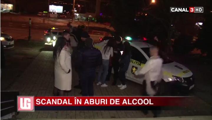 SCANDAL în aburi de alcool la Ciocana. Doar poliţia i-a putut linişti pe trei tineri petrecăreţi (VIDEO)
