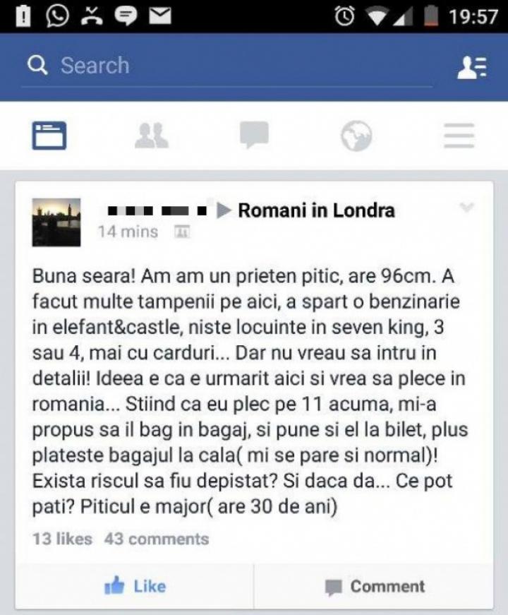 Cum să scoți ilegal din Marea Britanie un PITIC INFRACTOR. Postarea unui român, VIRALĂ pe Facebook