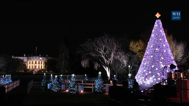 ATMOSFERĂ DE BASM: Barack Obama şi Michelle au aprins luminiţele pe bradul de la Casa Albă