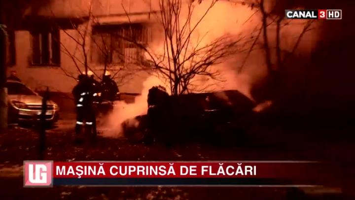 INCENDIU GRAV la Râşcani! O maşină a fost cuprinsă de flăcări (VIDEO)