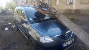 I-a cazut un stâlp pe maşină, acum trei zile. Cei de la Spaţii Verzi spun că NU E TREABA LOR să rezolve problema (FOTO)