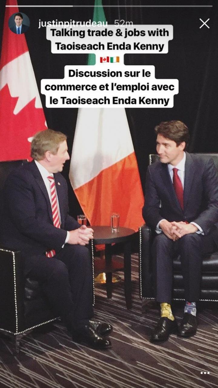 APARIŢIE INEDITĂ a premierului Canadei la întâlnirea cu omologul său irlandez (IMAGINE VIRALĂ)