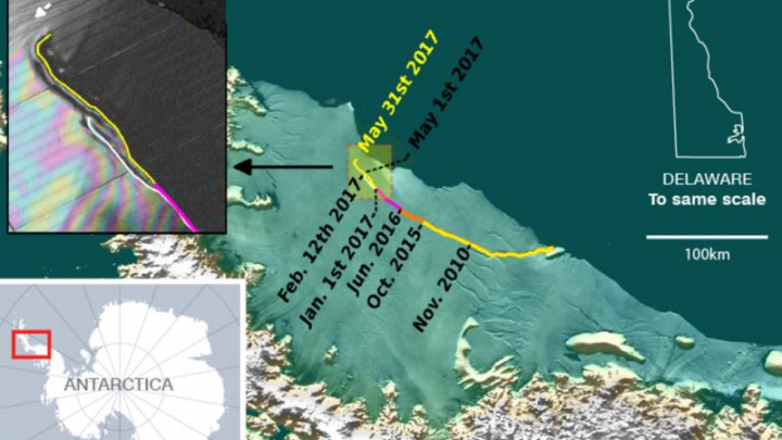 Cel mai mare aisberg din lume se desprinde de Antarctica. Blocul de gheață se va prăbuși (FOTO)