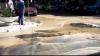 O țeavă de apă rece a explodat în Capitală (GALERIE FOTO/VIDEO)