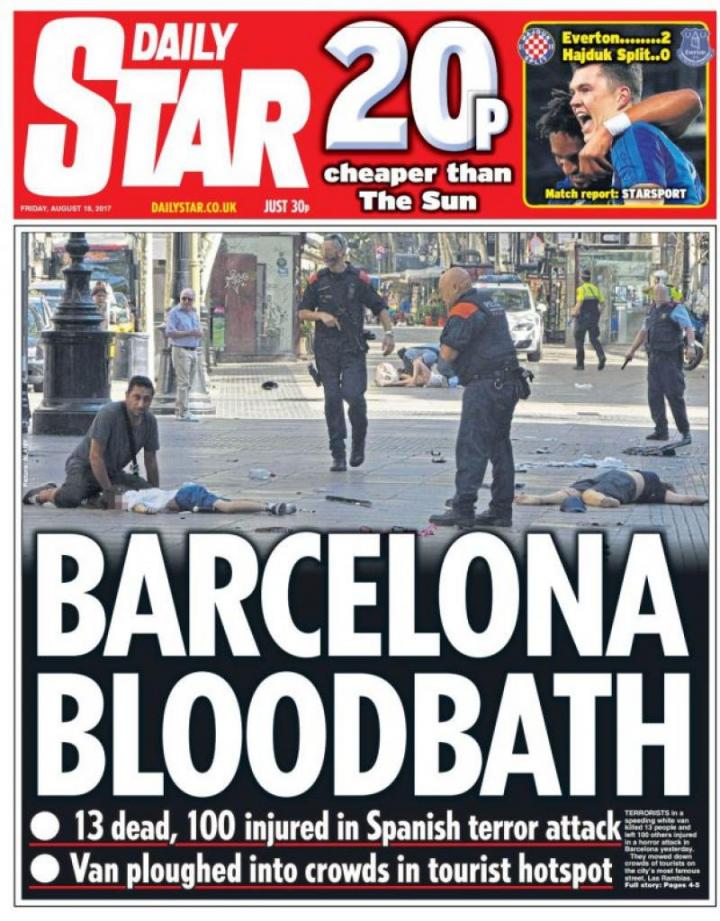 Presa din întreaga lume, atrocitată de atacul din Barcelona. Cum arată prima pagină a ziarelor europene de azi (FOTO)